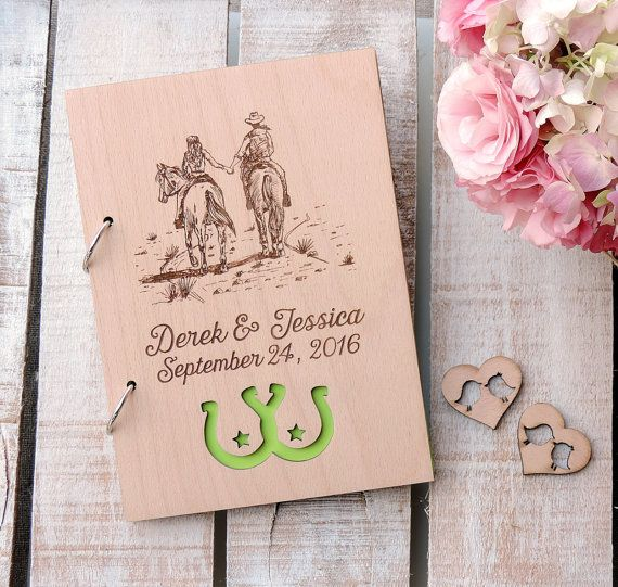 Horse Riding Rustic Wedding Guest Book Horse Lover Wood