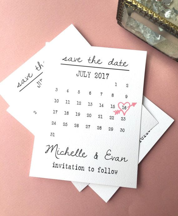 Calendar Save the date Template heart date by sweetinvitationco