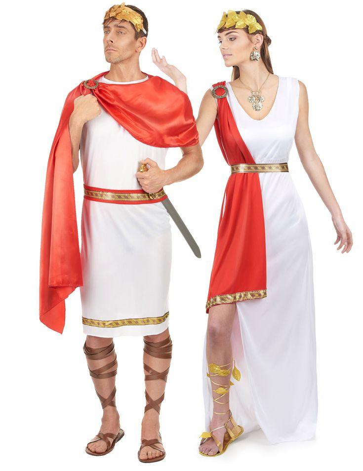 Costume coppia da romano: Costume donna:Questo costume da dea romana per donna si compone di un lungo abito bianco con spacco sul fianco con mantello rosso, una fascia e una cintura. Il sotto del mantello è ornato da...