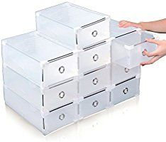 Acelectronic 10 Pieces Clear Plastic Shoe Storage Boxes Stackable Foldable Shoe Box Organizer Trainer Drawer Holder for Women/Ladies,Multifunction Organizer,High Quality