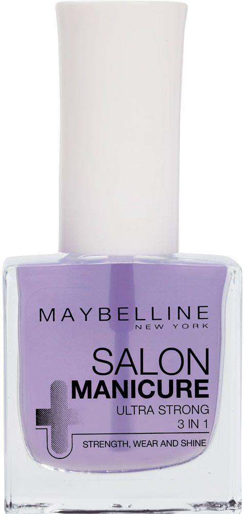 ΗMaybelline Salon Manicure Ultra Strong 3 In 1 είναι μία πλούσια βάση, που συνδυάζει 3 χαρακτηριστικά σε ένα μόνο βερνίκι! Ενδυναμώνει τα νύχια, ώστε να είναι σκληρά και υγιή. Λειτουργεί ως βάση για την ομοιόμορφη εφαρμογή του χρώματος και επιπλέον χρησιμοποιείται ως top coat, για να ενισχύσει