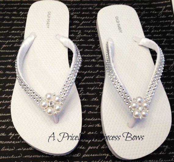 wedding flip flops for bride | ... peep toe swarovski crystal embellishments bride bridesmaid prom shoes