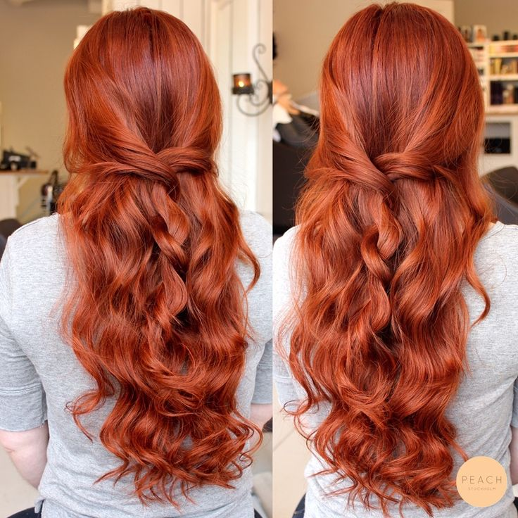 Copperred long wavy hair with braid