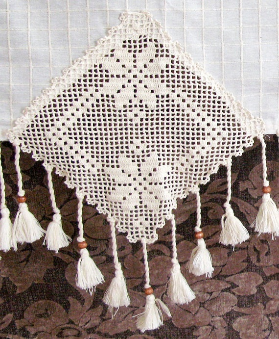 ECO Friendly Naturel Cotton Curtain with Handcrochet Lace Wooden beads and Tassel