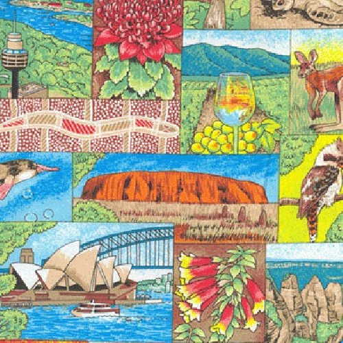 Australian Life Opera House Kookaburra Uluru Quilting Fabric from Sarah J Home Decor