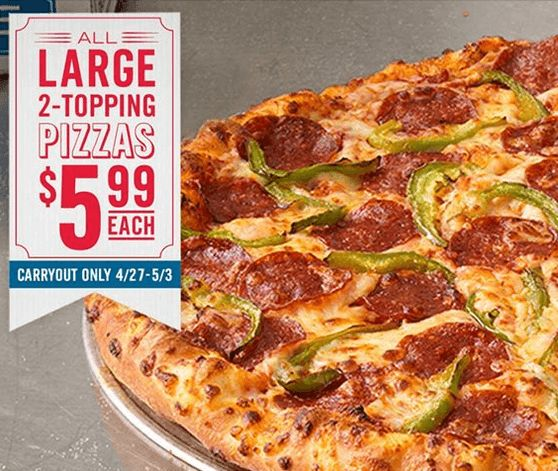 Dominos Pizza Coupon – Large 2-Topping Pizza For $5.99!