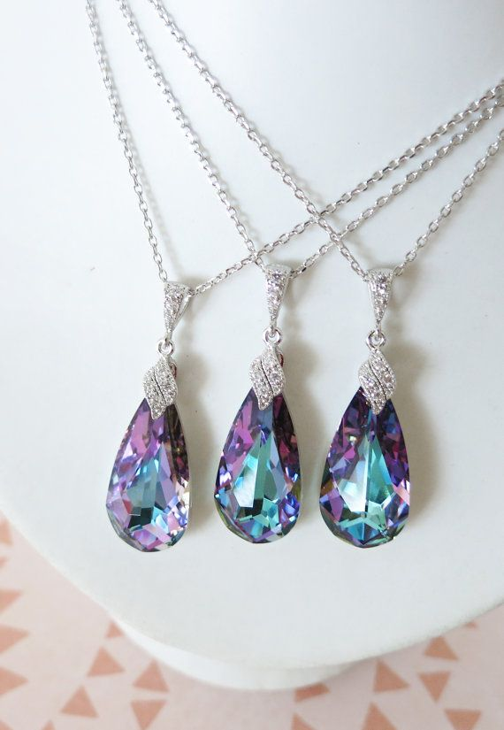 Swarovski Vitrail Light Purple Teardrop Crystal Necklace, Cubic Zirconia Necklace, Bridal, Purple Bridesmaid Jewelry, www.glitzandlove.com