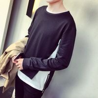 2016新しい ファッション原宿ヒップ ホップ ロック tシャツ男性グラフィック tシャツ メンズ ロング スリーブ サイド ジッパー tシャツ ブランド の服グレー黒
