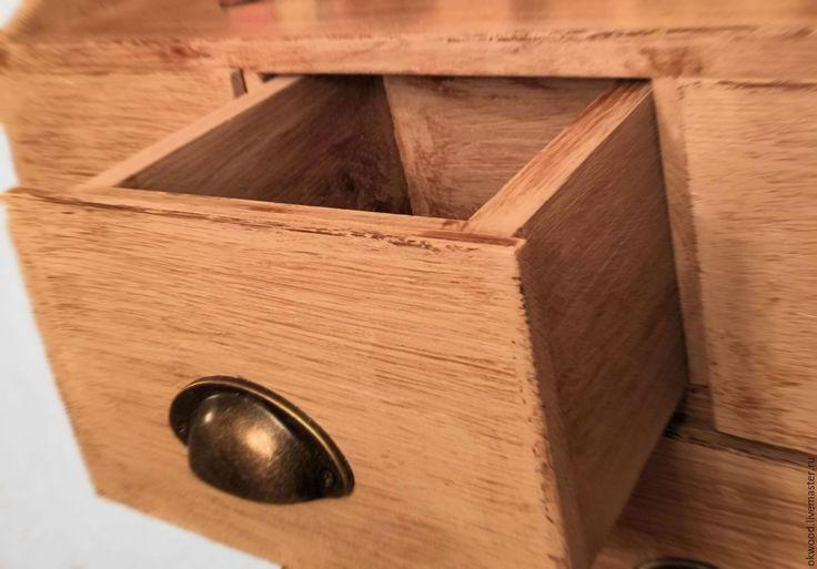 Купить Полка навесная в 5-тью ящиками - серый, полка из дерева, полка деревянная