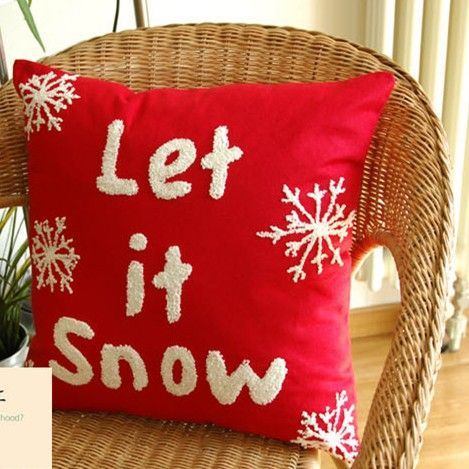 Free shipping 2pcs/lot Home Snow kiss design Red handmade Woolen embroidery lumbar Pillow cushion cover 45x45cm/C7030 $29.90/lot