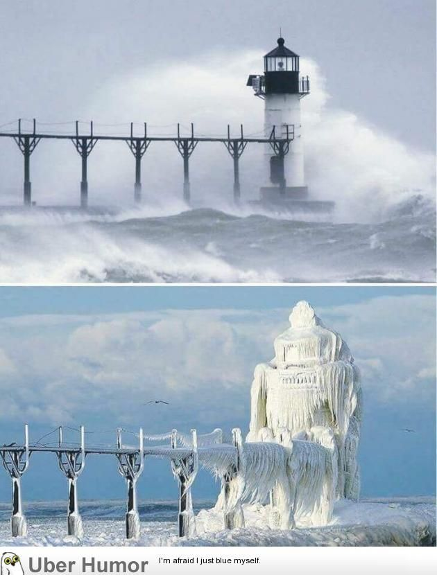awesome A Michigan lighthouse, before and after a winter storm.
