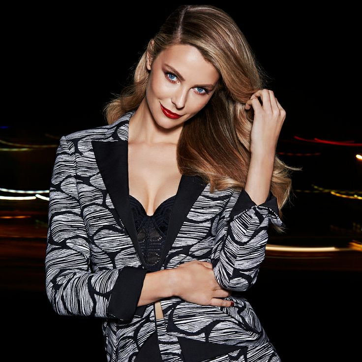 The Face of Myer Jennifer Hawkins models AURELIO COSTARELLA Tuxe Peplum Jacket and Jacquard Skirt from the AW14 Designer Collection at Myer #AW14 #AustralianFashion