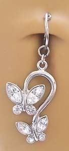 Amazon.com: Fake Belly Navel Non Clip on Piercing 2 Cz Clear Butterfly Dangle Ring: Jewelry
