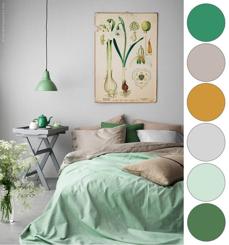 ikea green mustard grey bedroom color palette - Green Bedroom Decorating Ideas