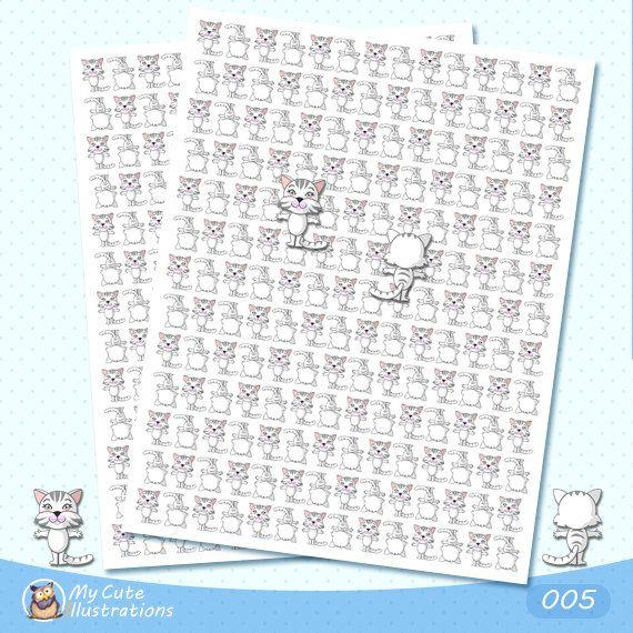 Printable Cat stickers, Cute Animal Stickers, Cute Cat Planner Sticker Set, Pet…