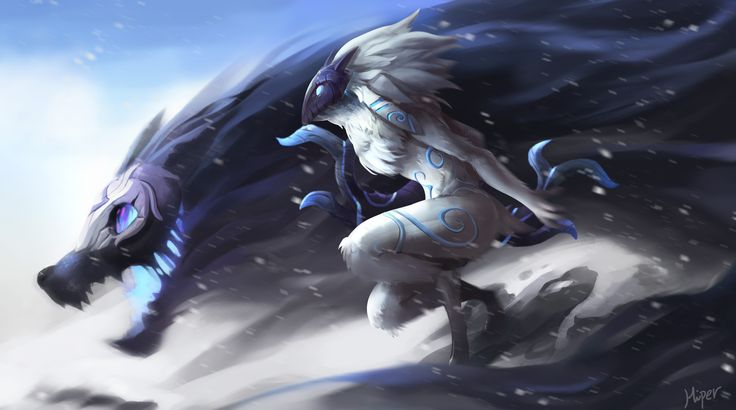 Computerspiel League Of Legends  Kindred Wallpaper