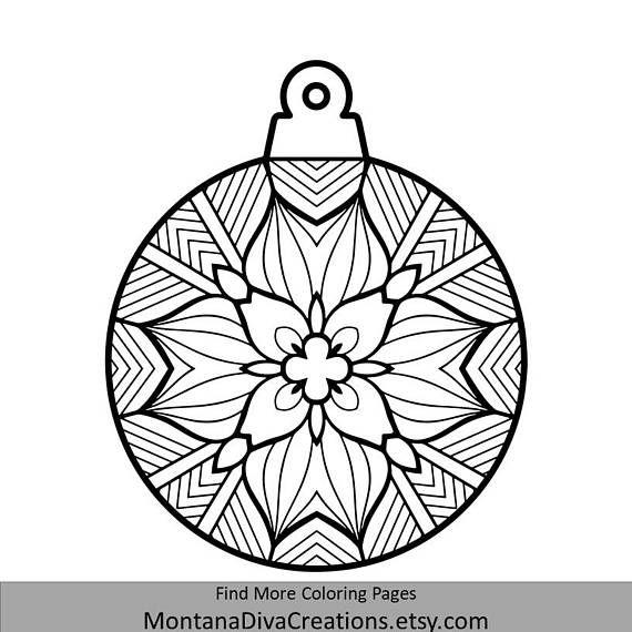 Tree Ornament Mandala Coloring Page Holiday Printable Instant