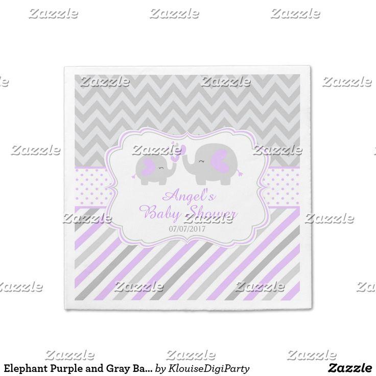 Elephant Purple and Gray Baby Shower Napkin
