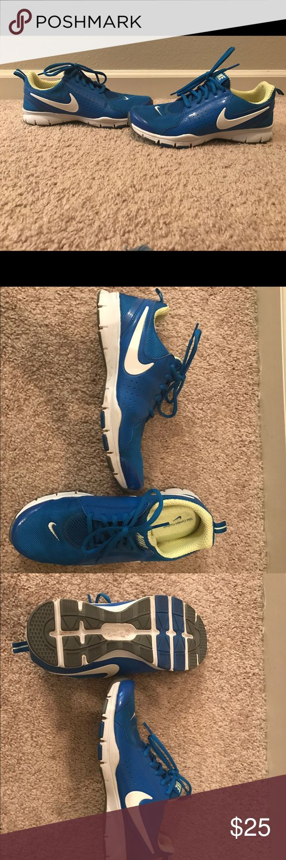 Women's Nike Tennis Shoe Women's 7 1/2 Nike Tennis Shoes.  In very condition, only worn about 4 times.  Royal Blue with yellow stripe. Nike Comfort Footbed so very comfy. Nike Shoes Athletic Shoes