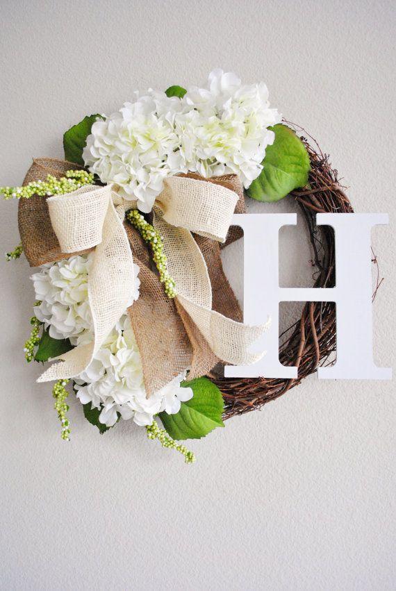 White Hydrangea Monogram Grapevine Wreath with Burlap. Spring Summer Wreath. Housewarming, Mother's Day. Monogram Wreath