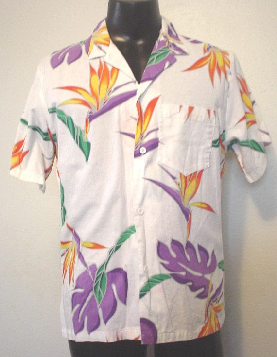 Vintage OP / Ocean Pacific White Camp Shirt Aloha Shirt Mens Size S  Purple / Orange / Yellow / Gray / Green Travel / Casual / Cruise / Resort / Camp  Presumed 100% Cotton  I have inspected the shirt and found no rips, stains or flaws.  Please take a look at my other offerings at Her