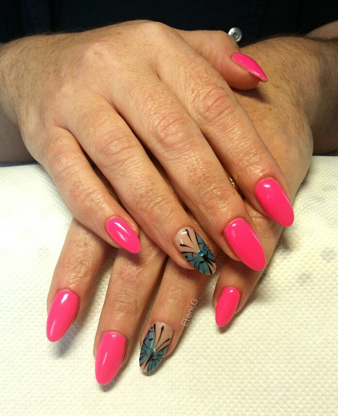 #summer #acrylic #long #almond #nails #pink #blue #butterfly