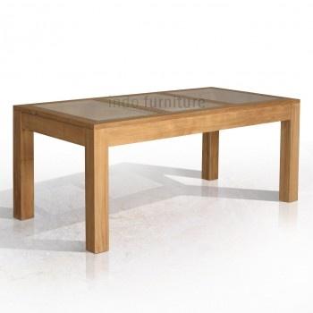 Meja Makan Minimalis dari kayu jati perhutani (TPK) berdaun meja dari kaca. Jati dengan proses rustik maka teksture kayu timbul memberi kesan alami dan daun meja dari kaca memberi kesan modern. Perpaduan yang pas dan indah membuat selera makan Anda bersama keluarga makin nikmat.