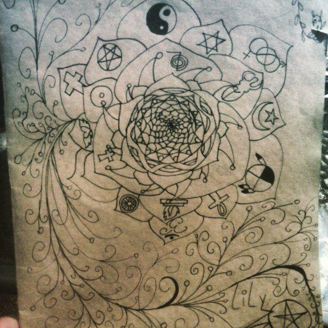 La portada de una carpeta que ise!! #Diseño #portadas #mandala #Simbolos #Lily_stars #creatividad #original #marcadornegro #Dibujos_chile