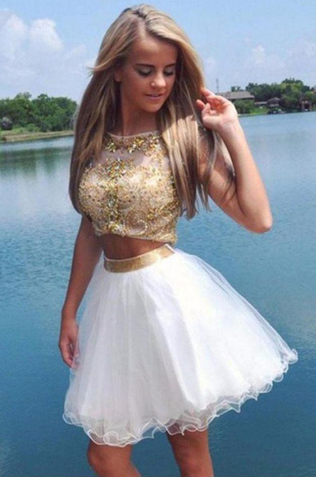 Decent 2 Piece Homecoming Dress,Cap Sleeves Crystals Homecoming  #Short Homecoming Dress #HomecomingDresses #Short PromDresses #Short CocktailDresses #HomecomingDresses