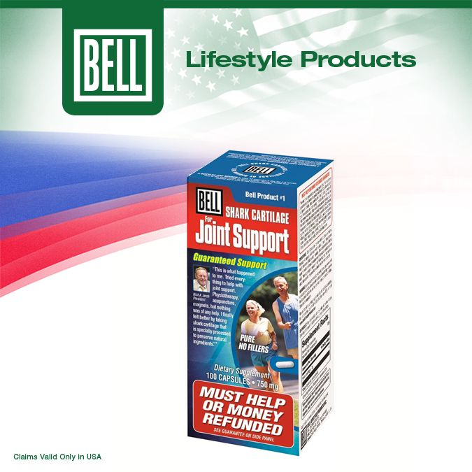 To help with your joint discomfort, Bell Lifestyle Products created Bell Joint Support which features active, bio-available nutrition that nourishes cartilage and optimizes healthy joints. Learn more about Bell Joint Support on our website today. http://www.belllifestyleproducts.com/01-sharkcartilage.htm