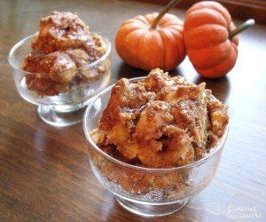 Image waking up to the smell of warm pumpkin pie. Now you can with this easy Crock Pot Pumpkin Bread Pudding!