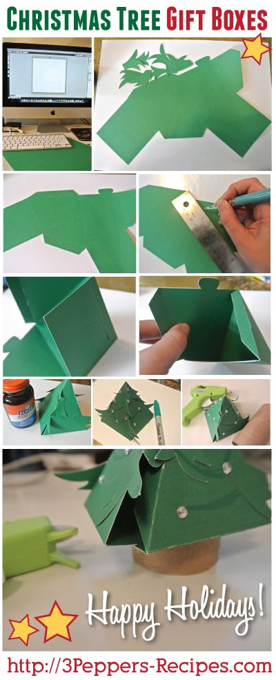Christmas Tree Gift Boxes Tutorial and Files #free #christmas