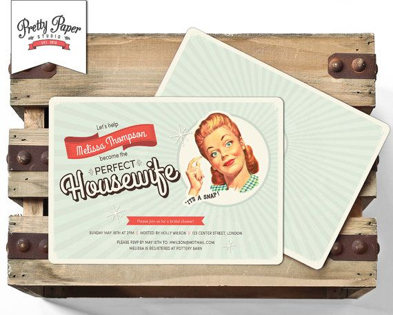 50s Housewife Bridal Shower Invitation // Retro 1950s Housewife // Retro Bridal Shower Invite // Printable Digital ws01