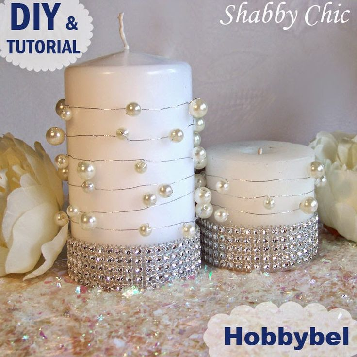 candela centrotavola matrimonio fai da te shabby chic con perle - wedding DIY centerpiece craft ...
