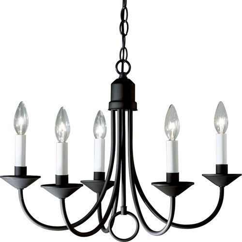 P4008-31: Primitive Black Iron Chandelier