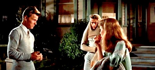 James Dean storming out with some attitude and sass, with Richard Davalos and Julie Harris in East of Eden (Elia Kazan, 1955)