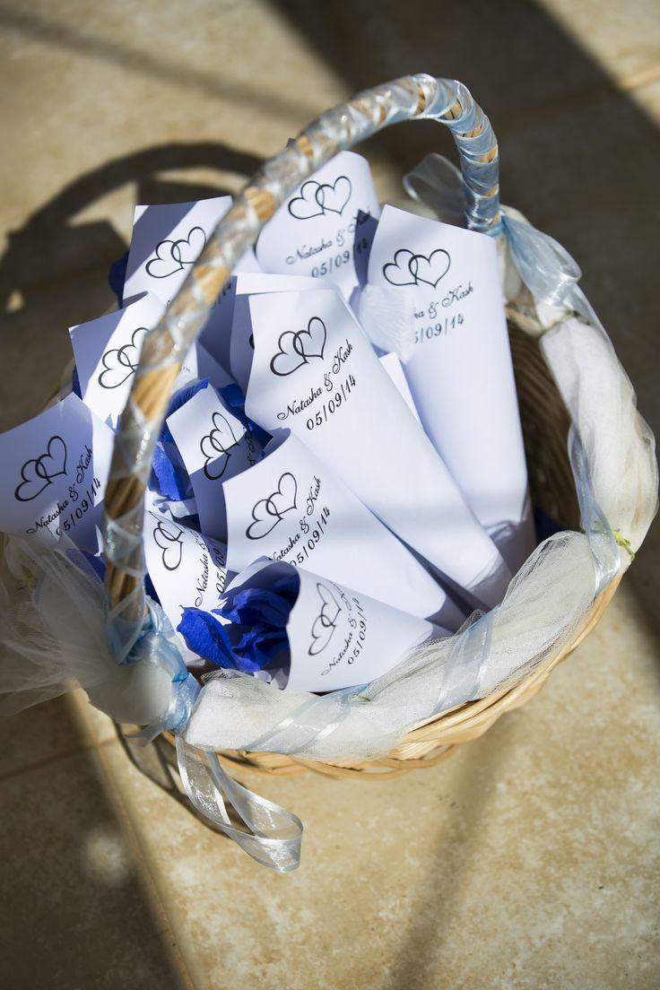 personalised confetti cones with blue petals