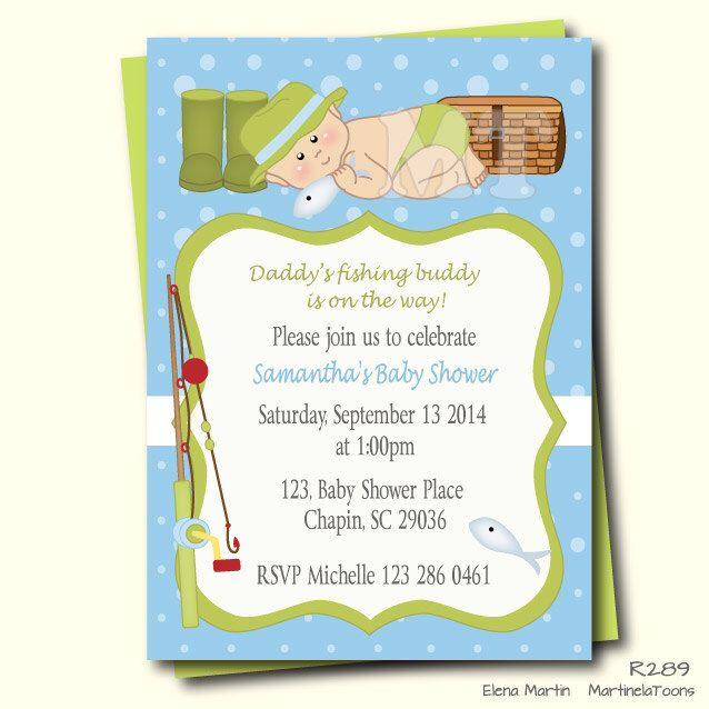 Fishing Baby Shower Invitation- Fishing Baby Boy Shower Invites-  Fish Theme Boy Baby Shower Printable- Daddys Fishing Buddy- Gone Fishing by MartinelaToons on Etsy https://www.etsy.com/listing/217802504/fishing-baby-shower-invitation-fishing
