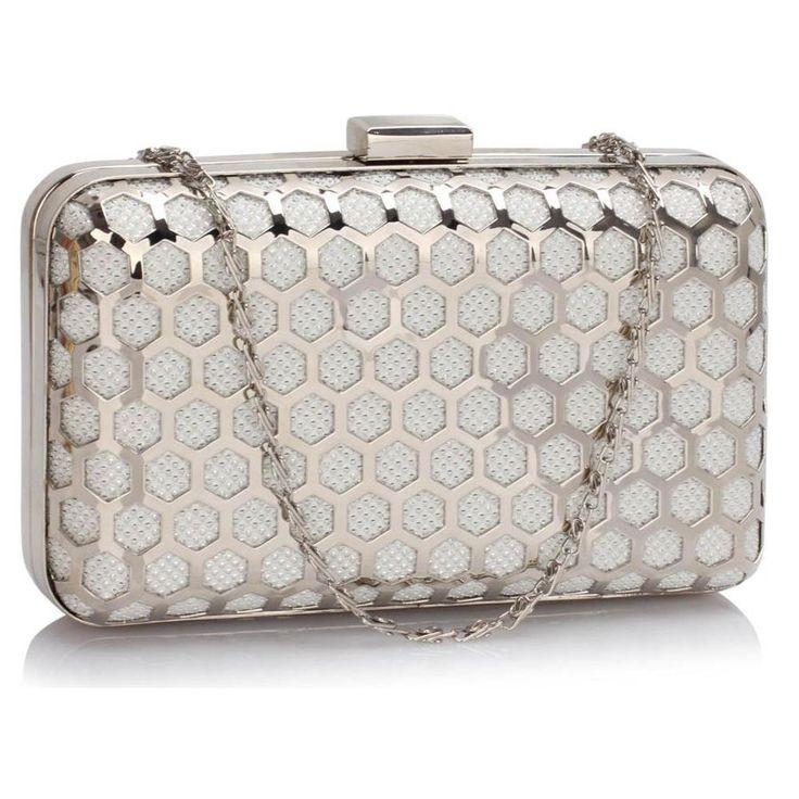 Efektowna torebka wieczorowa szkatułka biały ze srebrem biały || srebrny | Sklep internetowy Evangarda.pl