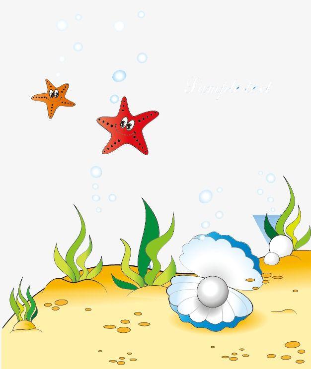 Cartoon Underwater World Seabed World Starfish Png And Vector Underwater World Cartoon Clip Art