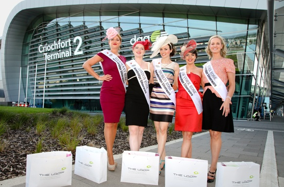 Five Rose of Tralee participants outside Terminal 2 at Dublin Airport (August 2012)