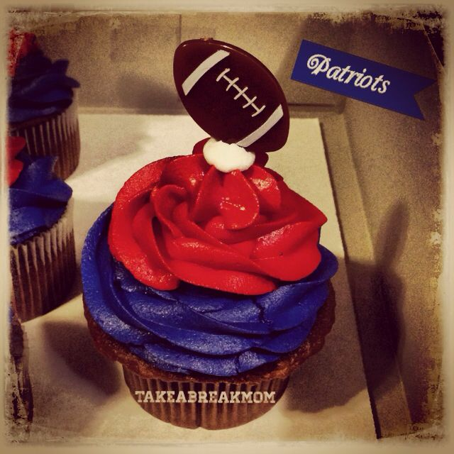 New England Patriots Chocolate Cupcake with Football pick!