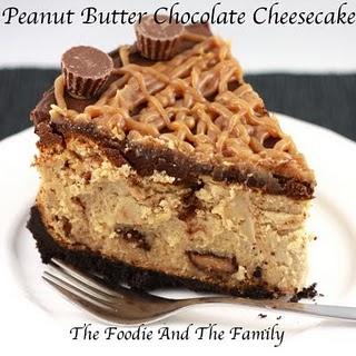 Peanut Butter Chocolate Cheesecake - 2 cups Oreo crumbs, 2 tbl butter,