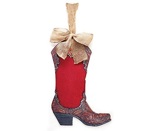 Burton & Burton Boot Shape Wall Hanging Western with Burlap Bow