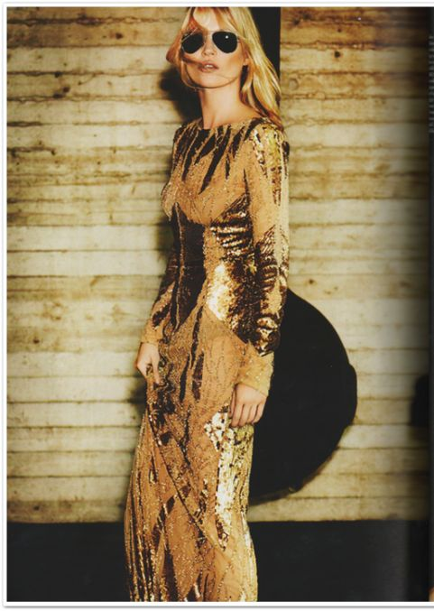 Kate Moss in ELIE SAAB Ready-to-Wear Autumn-Winter 2012-13 shot by Mario Testino and styled by Emmanuelle Alt for the October issue of Vogue Paris.