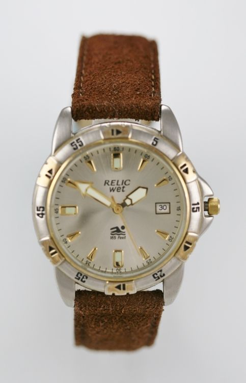 Relic Watch Men Gold Silver Stainless 50m Water Resist Leather Brown Date Quartz