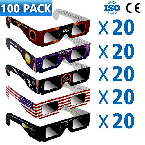 100 PACK Solar Eclipse Glasses Protable Glasses CE and ISO Certified Safe Shades for Direct Sun Viewing Protect Your Eyes Solar Eclipse Goggles (100 PACK)