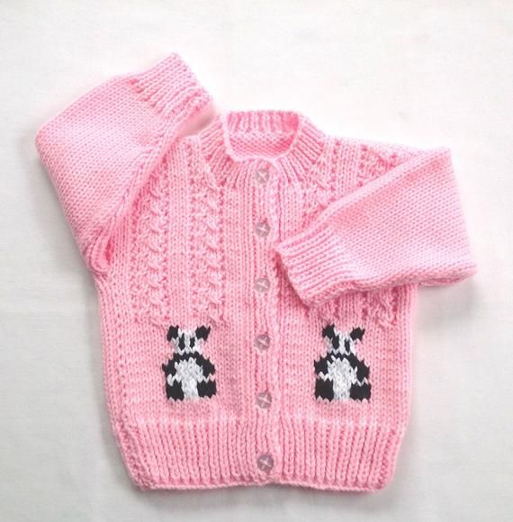 ff57f156886 Size 12 to 24 months, this is a handknit panda cardigan for toddler ...