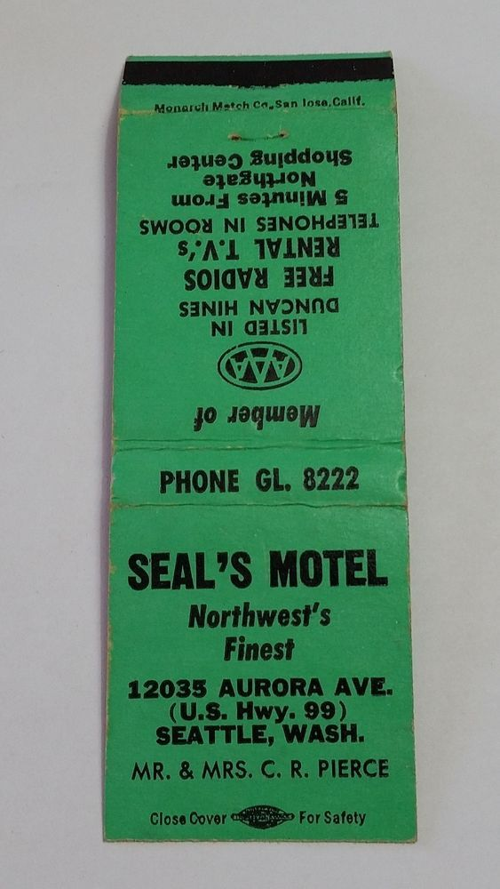 SEAL S MOTEL SEATTLE WASHINGTON PHONE GL. 8222 Matchbook Matchcover GREEN
