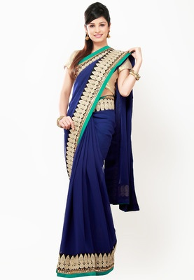 BARCODE 91 Embroidered Blue Saree - Blue coloured saree for women from Barcode91. Made of chiffon, this embroidered saree measures 6.3 m, including the blouse piece.